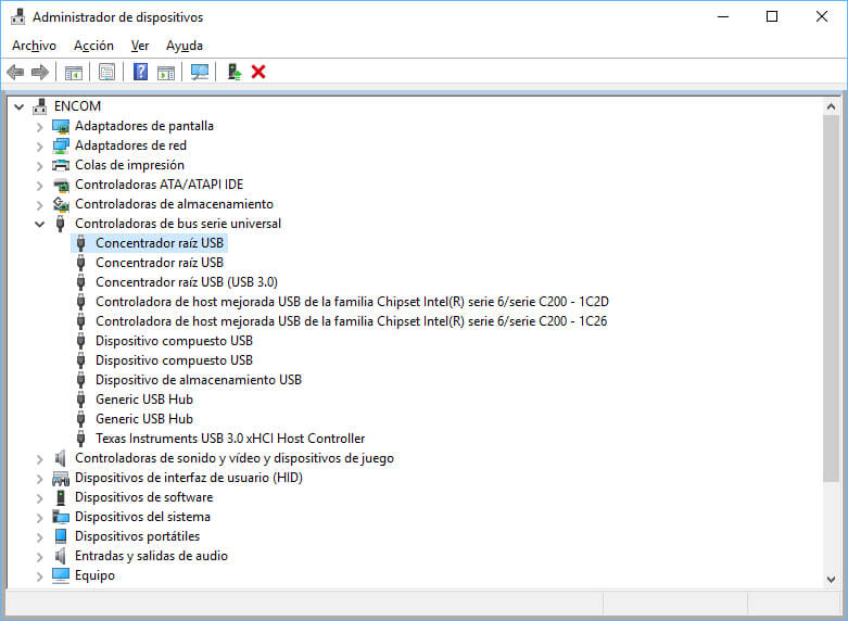 administrador de dispositivos - concentrador raiz usb